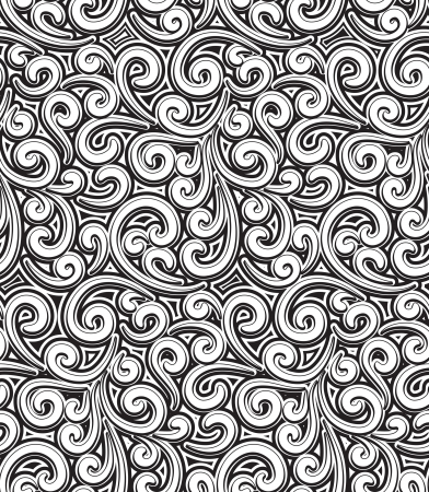 foliate: Floral swirls, vintage black and white seamless pattern