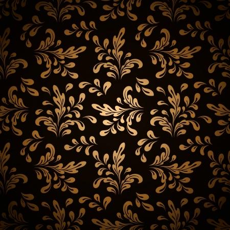vintage scrolls: Floral swirls, vintage gold seamless pattern