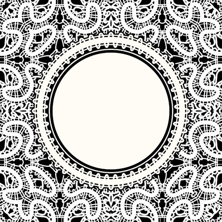 tulle: Realistic white lace, round frame on black background