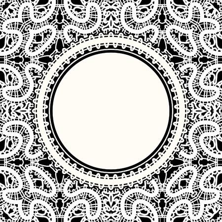 tatting: Realistic white lace, round frame on black background