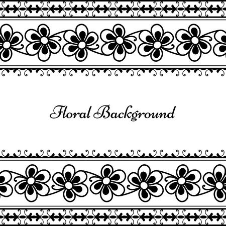 Monochrome floral background with seamless borders Vector