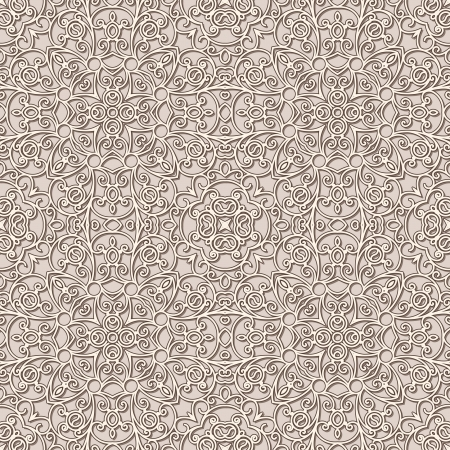 Old lace texture, beige seamless pattern Vector