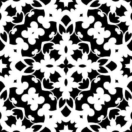guipure: Geometric monochrome seamless pattern