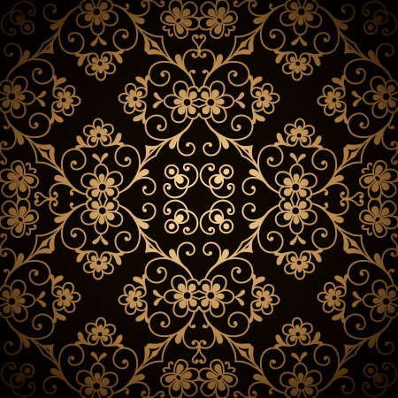 Vintage gold floral ornament, seamless pattern Vector