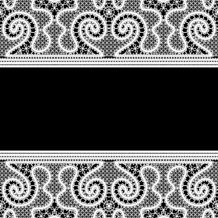 Realistic white lace on black background Stock Vector - 22123111