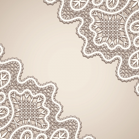 Old lace, vintage corner background Vector