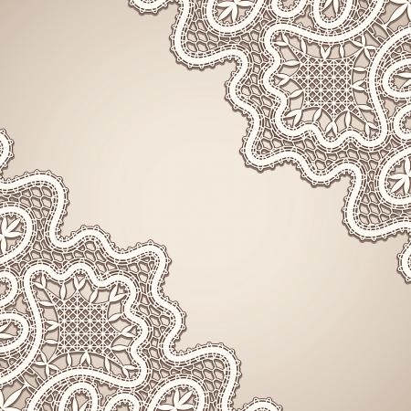 tatting: Old lace, vintage corner background Illustration