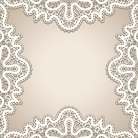 Old lace frame, vintage background Vector