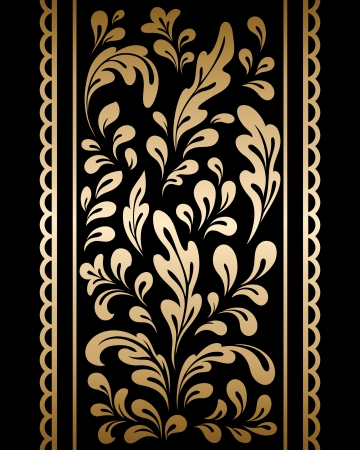 swirl border: Gold floral ornament on black background