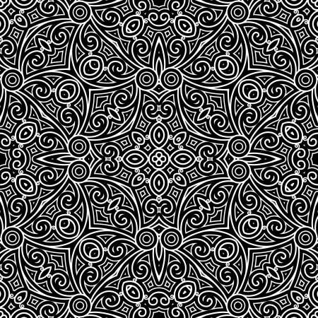 Vintage ornament, monochrome seamless pattern Vector