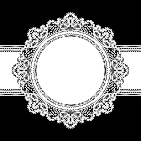 White lace, round frame on black Vector