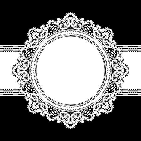 lace like: White lace, round frame on black