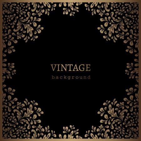 gold swirls: Vintage gold frame, floral swirls on black background