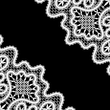 White lace corners on black Vector