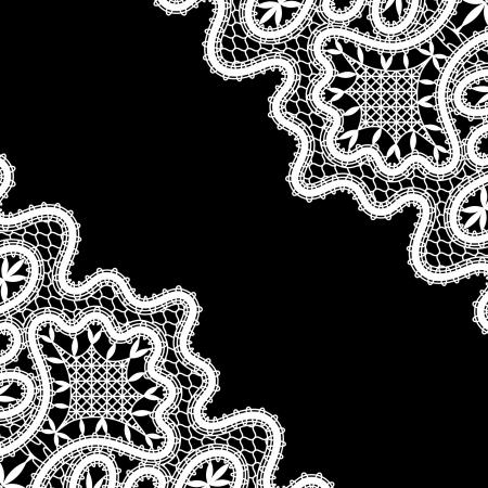 tatting: White lace corners on black