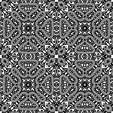 Black and white lace texture, seamless pattern Vector