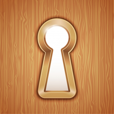 key hole: Key hole in a wooden door Illustration