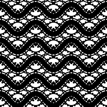 Black and white lace, seamless pattern Vector
