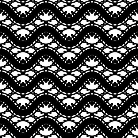 tatting: Black and white lace, seamless pattern