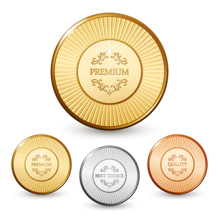 gold and silver coins: Set of premium quality labels Illustration