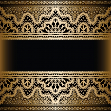 embroidery on fabric: Gold lace on black, vintage background