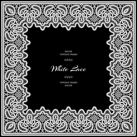 White lace frame on black background Vector