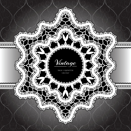 White lace background, lacy frame on black Vector