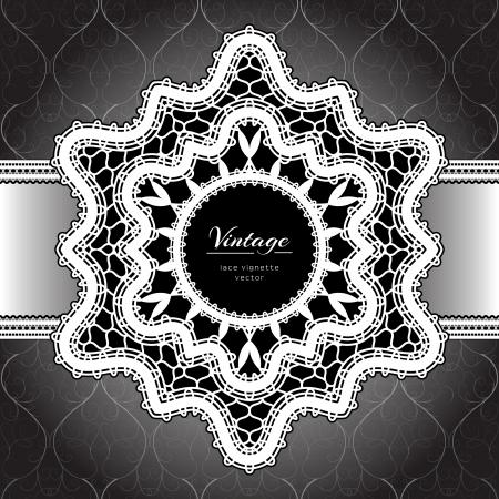 tatting: White lace background, lacy frame on black Illustration