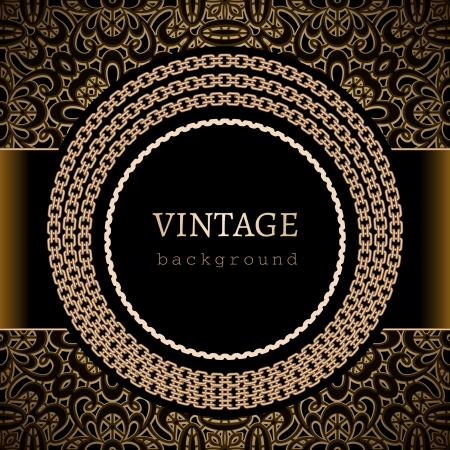 Vintage gold background, round frame template  Vector