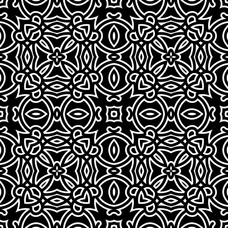 Black and white ornament, decorative seamless pattern, vintage monochrome lace texture Vector