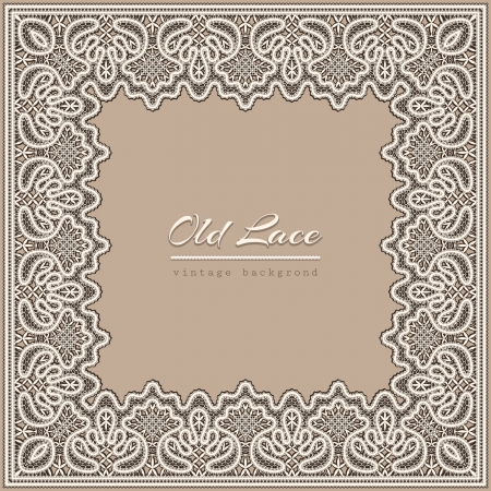 Old lace background, vintage frame template Vector