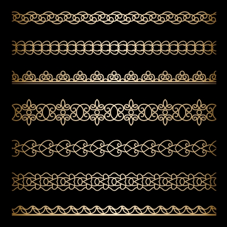 Set of vintage gold borders, ornamental dividers on black