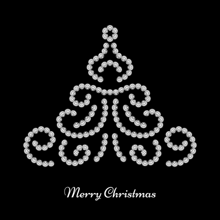 Dotted jewelry Christmas tree on black background Vector
