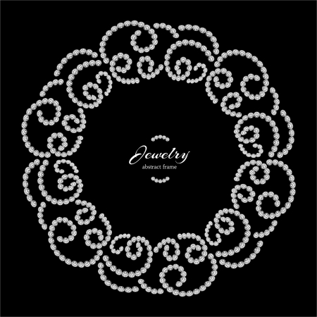 curlicue: Dotted jewelry frame, vintage round pattern on black background
