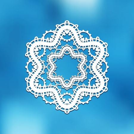 tatting: White lace doily, snowflake frame on blur background, winter decoration Illustration