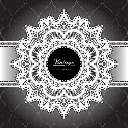 White lace, ornamental background Vector