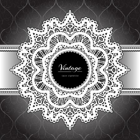 tatting: White lace, ornamental background Illustration