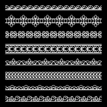 Set of white lace borders, lacy ribbons on black Vector