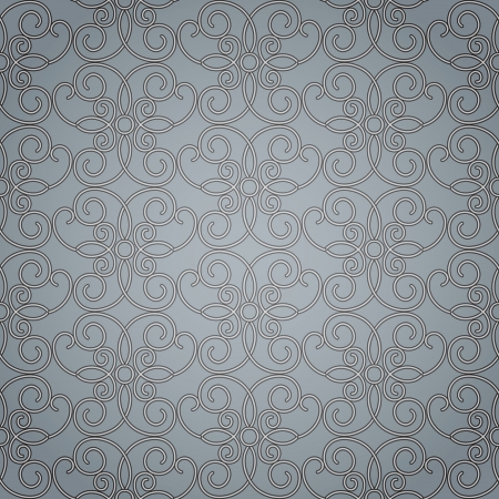 Grey filigree ornament, seamless pattern Vector