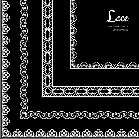 Set of white lace corners on black Vector