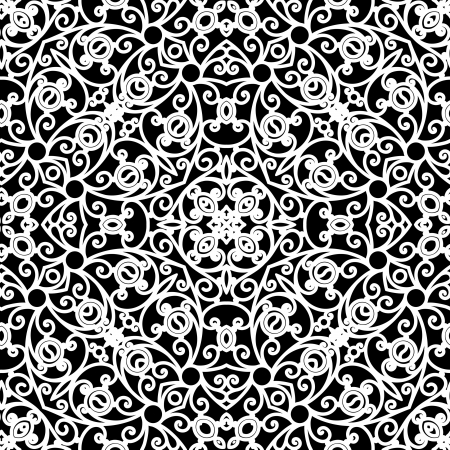 White lace seamless pattern on black Illustration