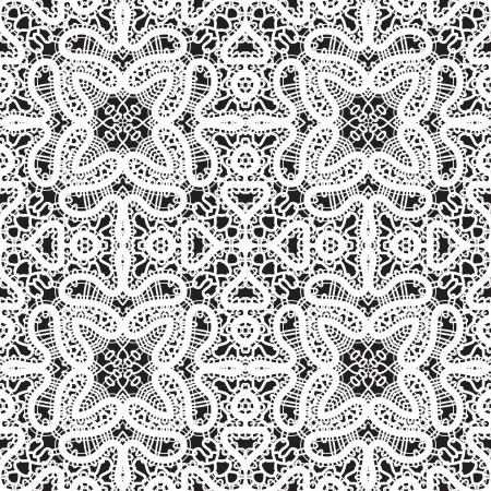 tatting: White lace on black background, seamless pattern Illustration