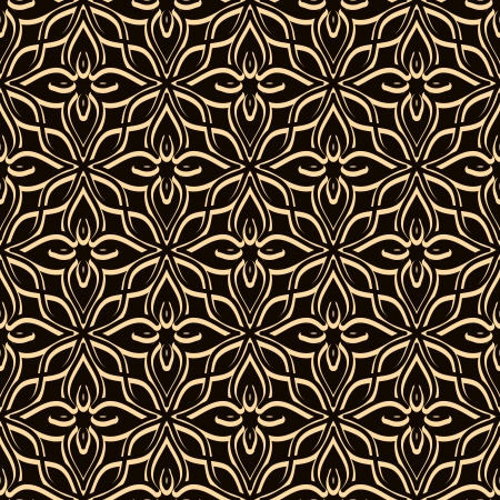 Vintage lace texture, seamless gold pattern Vector