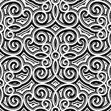 monochromatic: Vintage ornament, black and white seamless pattern