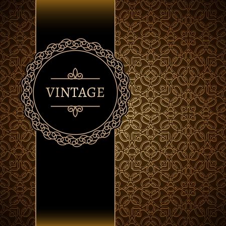 Vintage background, gold ornamental frame  Иллюстрация