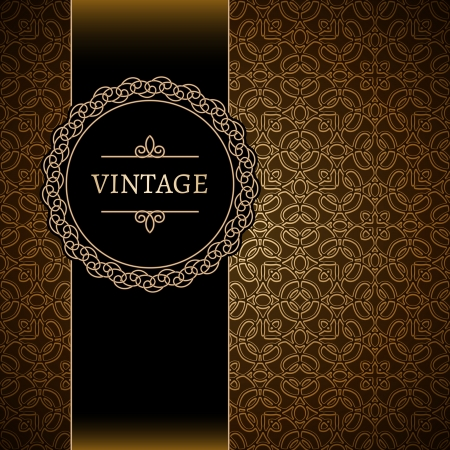 Vintage background, gold ornamental frame Фото со стока - 24027200