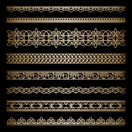 Set of vintage gold borders isolated on black Vector