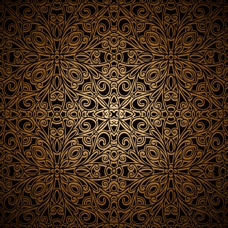 victorian fashion: Vintage dark gold seamless pattern Illustration