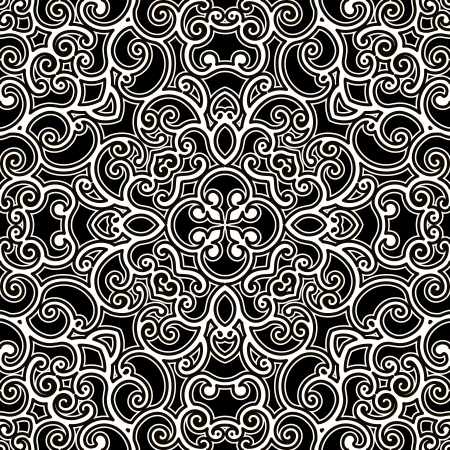 Black and white ornament, seamless pattern Vector