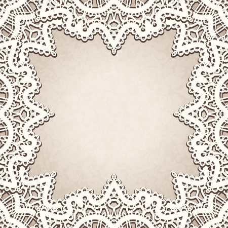 Old lace background, vintage decorative frame Vector